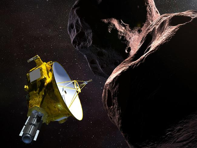 New Horizons spacecraft encountering Ultima Thule, a Kuiper Belt object that orbits one billion miles beyond Pluto. Picture: NASA/AP
