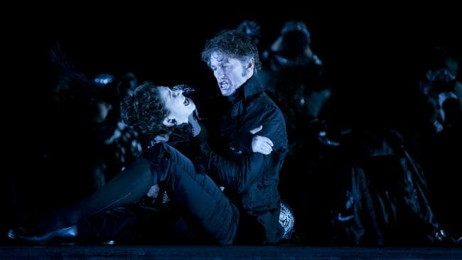 Don Giovanni (Tahu Rhodes) threatens Donna Elvira (Nicole Car) who is about to reveal all. Picture: Lisa Tomasetti.