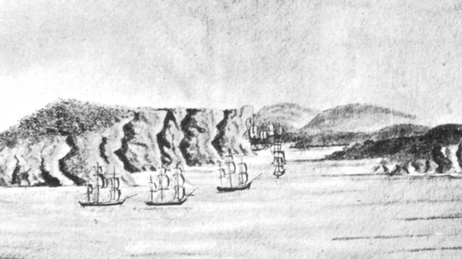 First Fleet entering Port Jackson from the Journal of Lieutenant William Bradley.