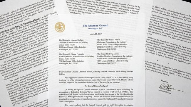 A copy of a letter from Attorney-General William Barr advising Congress of the principal conclusions reached by Special Counsel Robert Mueller. Picture: AP
