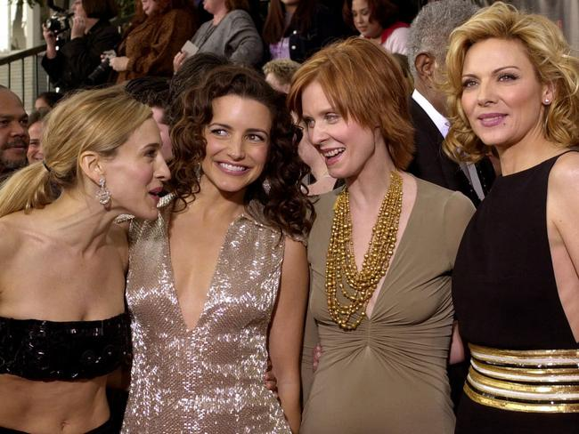 Sarah Jessica Parker with Kristen Davis, Cynthia Nixon and Kim Cattrall in 2001. Picture: Supplied