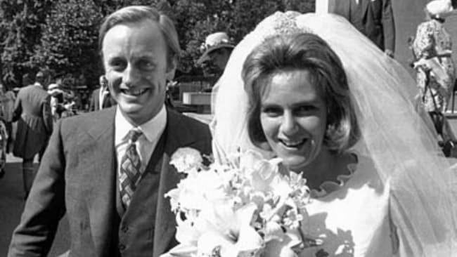 Captain Andrew Parker Bowles with Camilla Shand on their wedding day in 1973. Image: News Limited.