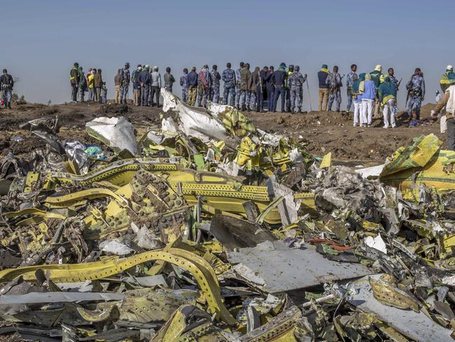 Wreckage is piled at the crash scene of an Ethiopian Airlines flight crash near Bishoftu, or Debre Zeit, south of Addis Ababa, Ethiopia, Monday, March 11, 2019. Picture: AP