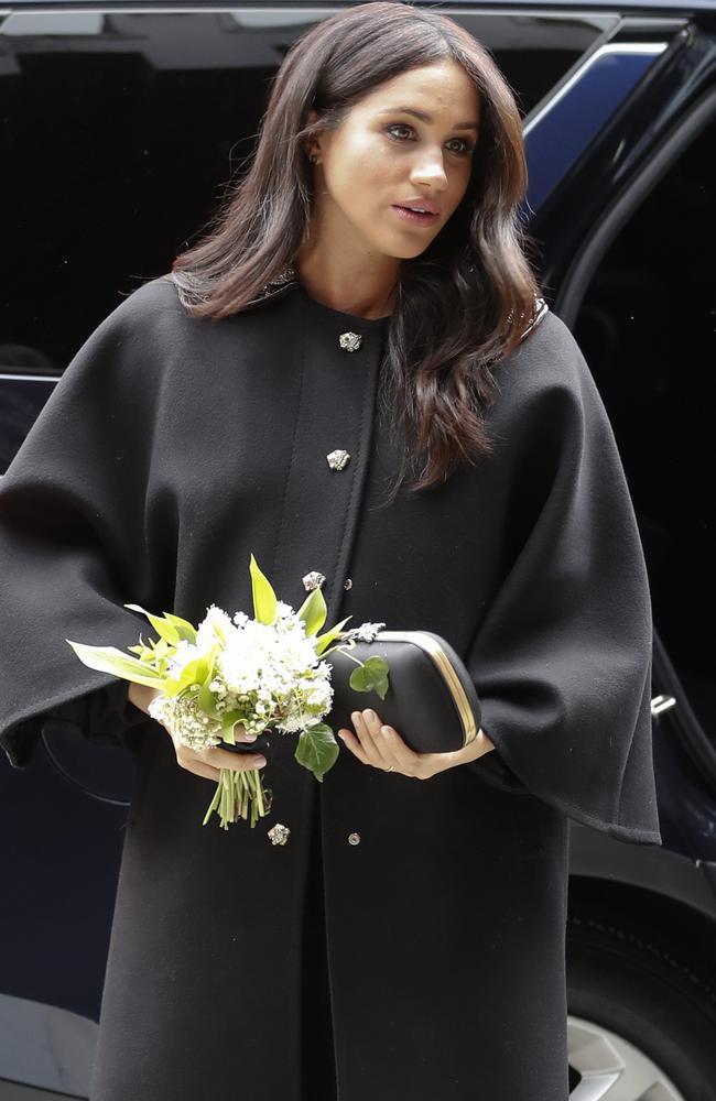 Meghan arrives at New Zealand House in London. Picture: AP