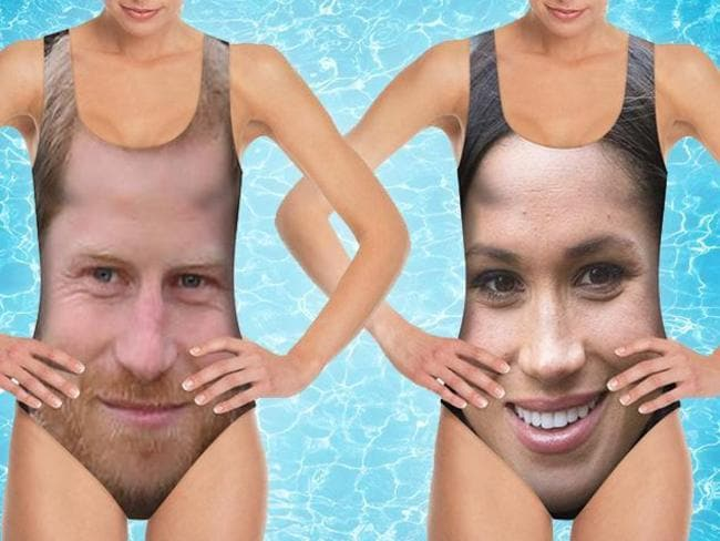 Swimsuits with Prince Harry and Meghan Markle's faces exist. Picture: The Sun