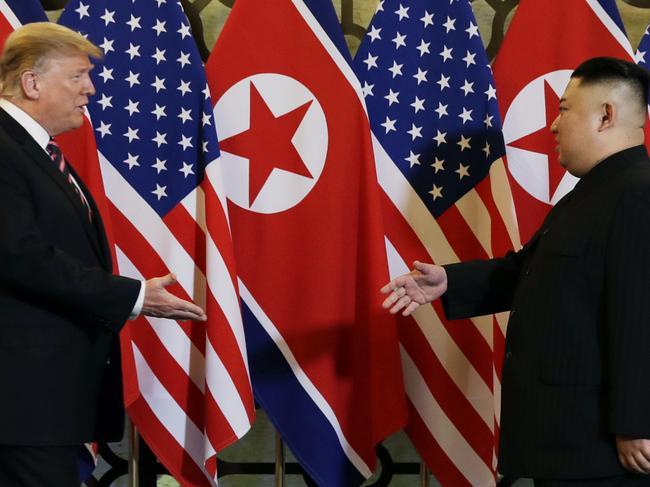 US President Donald Trump meets North Korean leader Kim Jong-un in Hanoi. Picture: AP
