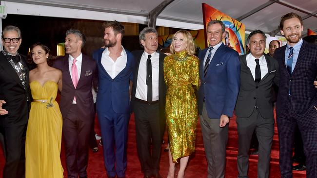 The cast of <i> Thor: Ragnarok </i>at the world premiere in Hollywood, California. Picture: Alberto E. Rodriguez / Getty Images.
