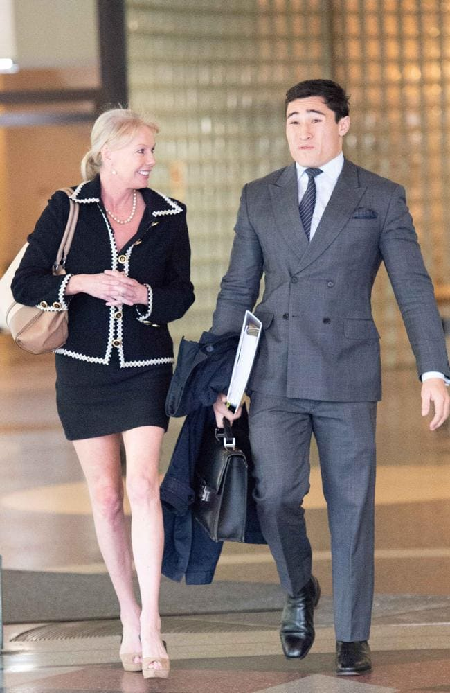 Late billionaire Richard Pratt's mistress Shari-Lea Hitchcock, above with lawyer Brian Wrench, is appealing her conviction on biting a policewoman. Picture: Monique Harmer.