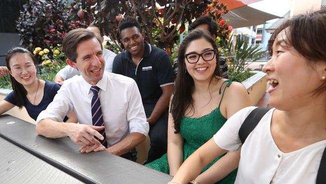 Education Minister Simon Birmingham meets international students at Spring Hill in Brisbane. Picture: Lyndon Mechielsen
