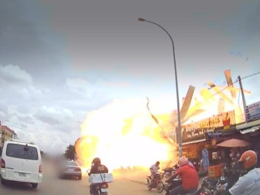 The almighty explosion was captured on dashcam footage.