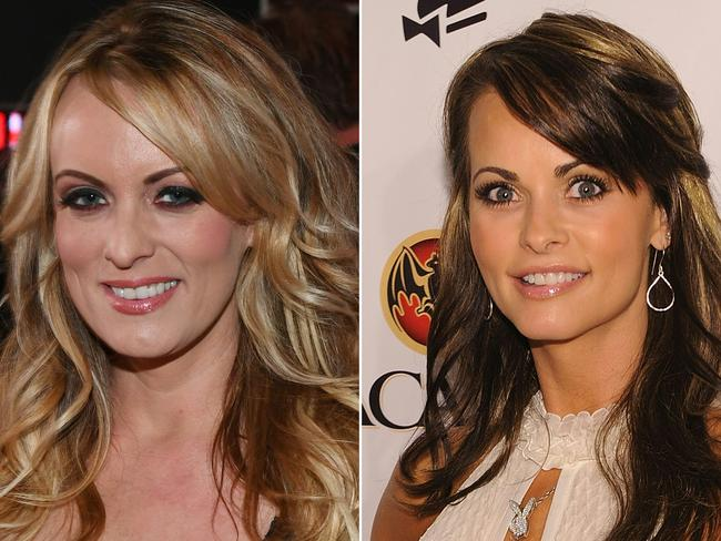 Stormy Daniels, left, and Karen McDougal both claim they had affairs with Donald Trump. Picture: AFP