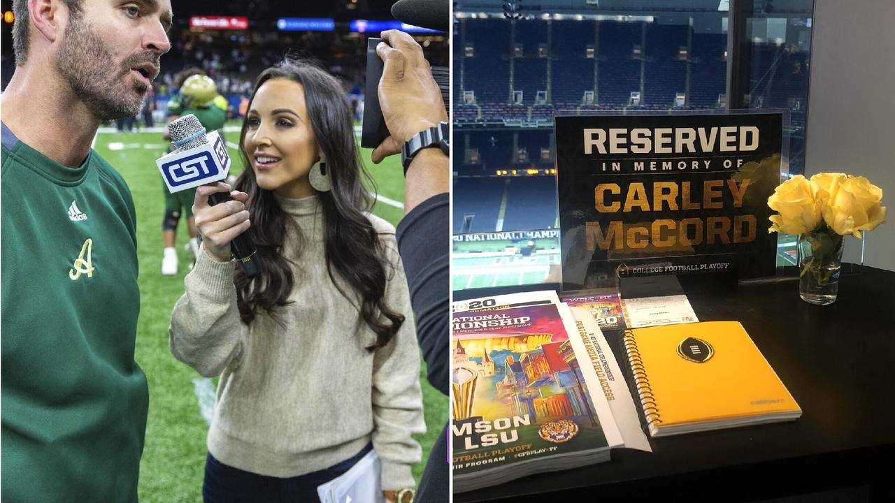 Seats were reserved in the Superdome press box for Carley McCord and Edward Aschoff at the college football championship game on Tuesday. Both were reporters who died in late December.