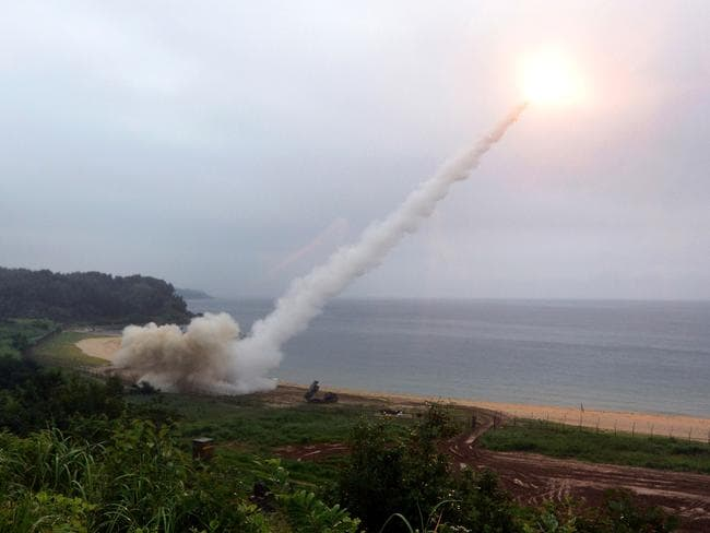 The US Army Tactical Missile System fires a missile into the East Sea during a South Korea-US joint missile drill. Picture: South Korean Defence Ministry via Getty Images