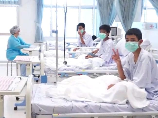Some of the boys being treated in hospital at Chiang Rai. Picture: AFP Photo