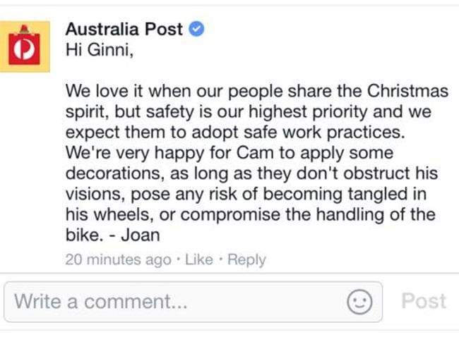 Australia Post has begun telling social media followers it is happy for Cam to decorate his bike, so long as it is safe. Picture: Facebook