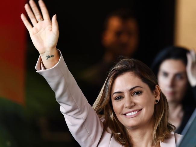 Michelle Bolsonaro, the wife of Brazilian president-elect Jair Bolsonaro, waves. Picture: AFP
