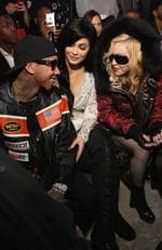 Tyga, Kylie Jenner, and Madonna attend the Philipp Plein collection during, New York Fashion Week: The Shows at New York Public Library on February 13, 2017 in New York City. Picture: Getty