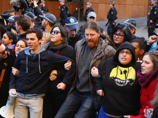 A counter protest against the Reclaim Australia rally in Sydney. Picture: Mark Kolbe/Getty Images
