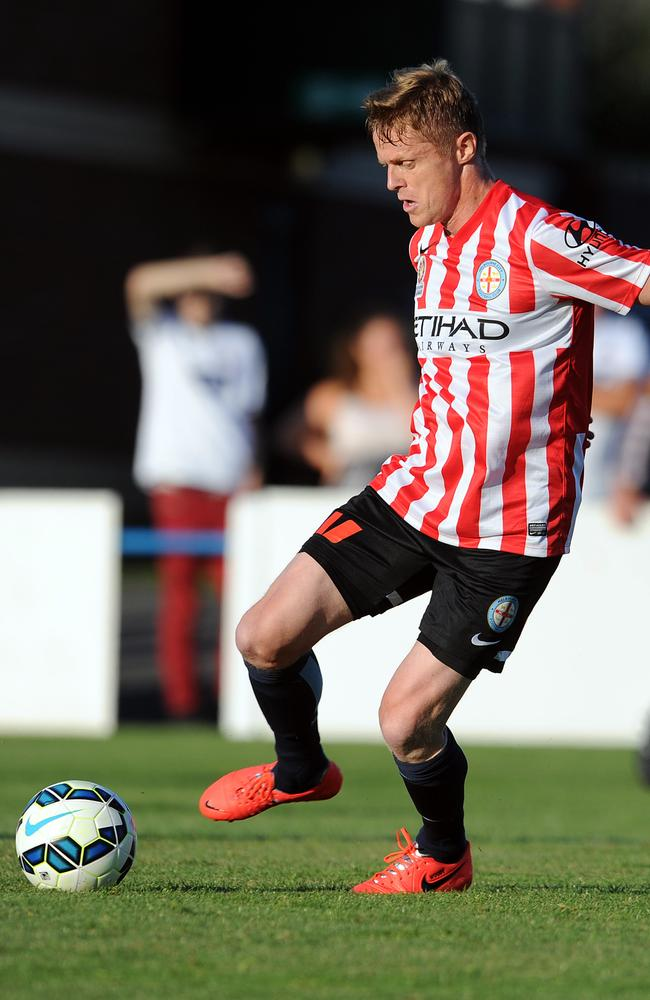 Damien Duff gets on the ball in the preseason match at the County Ground in Leyland, England.