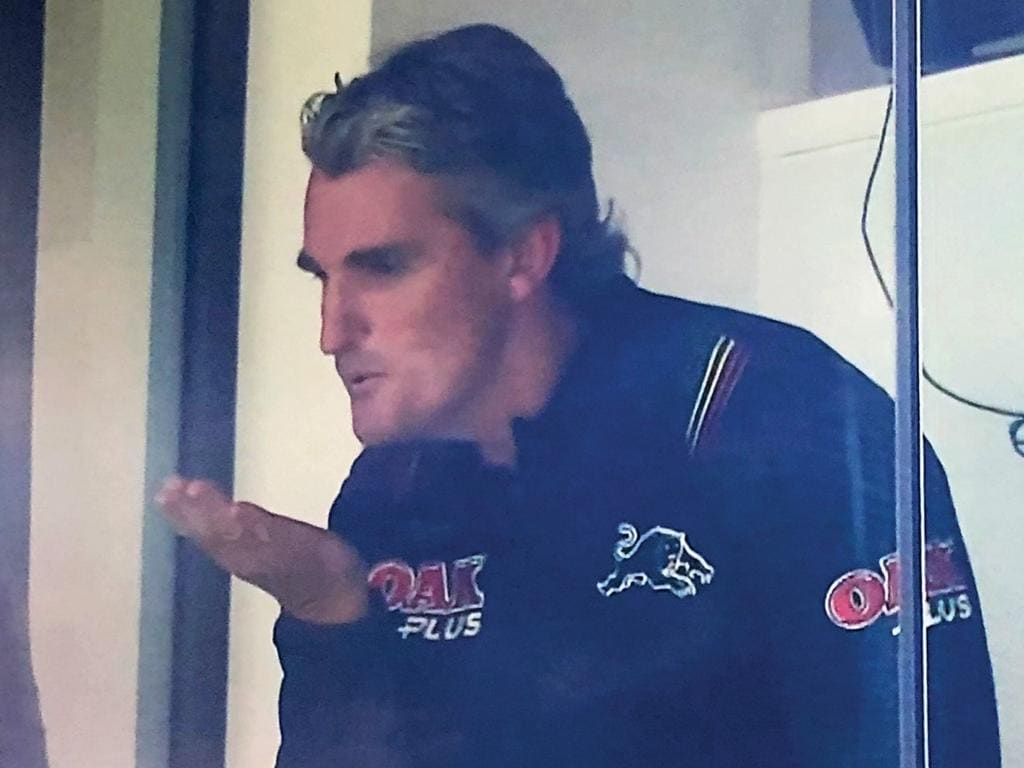Panthers coach Ivan Cleary blows a kiss to fans after his side beat the Wests Tigers last night., Supplied 4/7/20