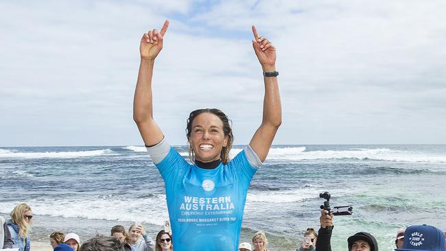 Sally Fitzgibbons after her win last year at Main Break.