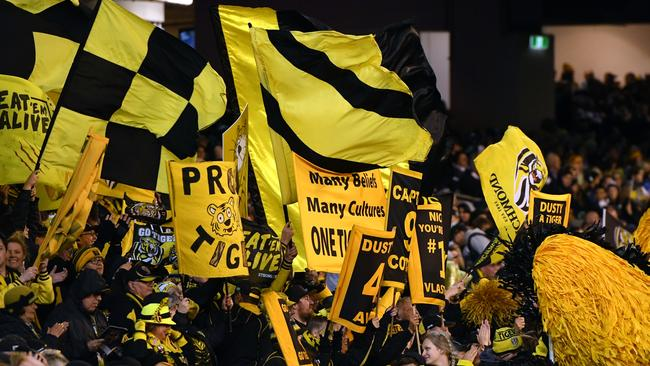 Richmond fans during its qualifying final against Geelong.