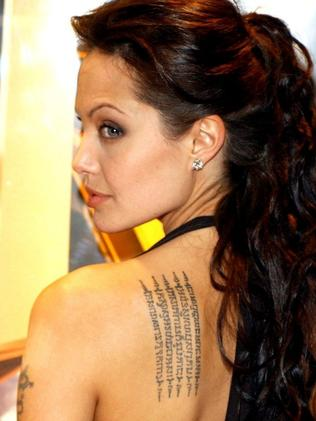 Angelina Jolie has had many of her tattoos removed. Picture: Supplied