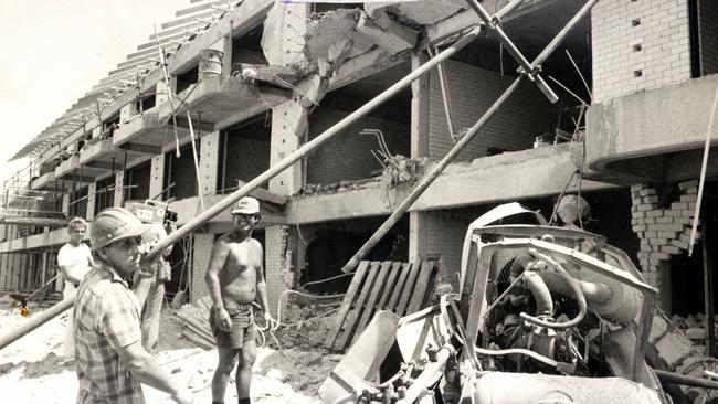A picture shows scattered debris in the aftermath of an explosion at the resort site.