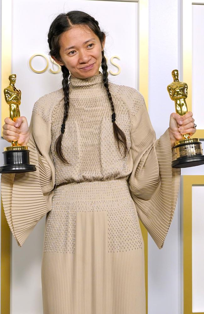Zhao made history at today's Oscars as the first Asian woman to win Best Director. Picture: Chris Pizzello/POOL/Getty Images
