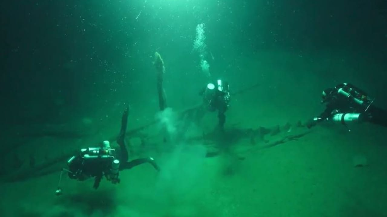 Black Sea MAP divers looking at another, shallower shipwreck found as part of the project.