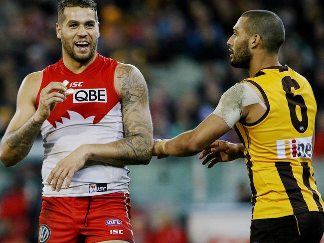Lance Franklin and Josh Gibson have a laugh. Picture: Colleen Petch.