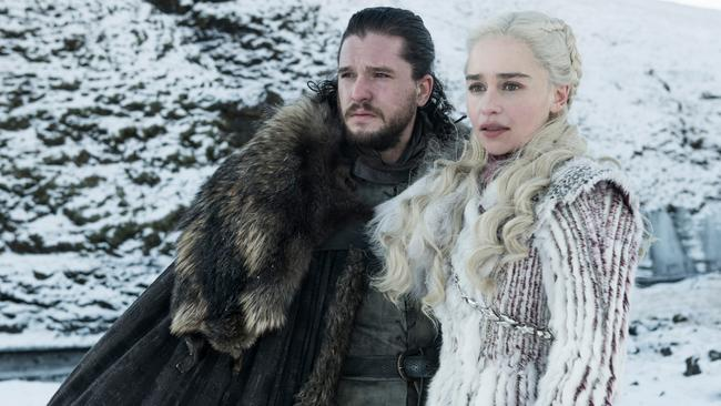Jon Snow and Daenarys Targaryen in an official image from season eight. Photo: Helen Sloan/HBO