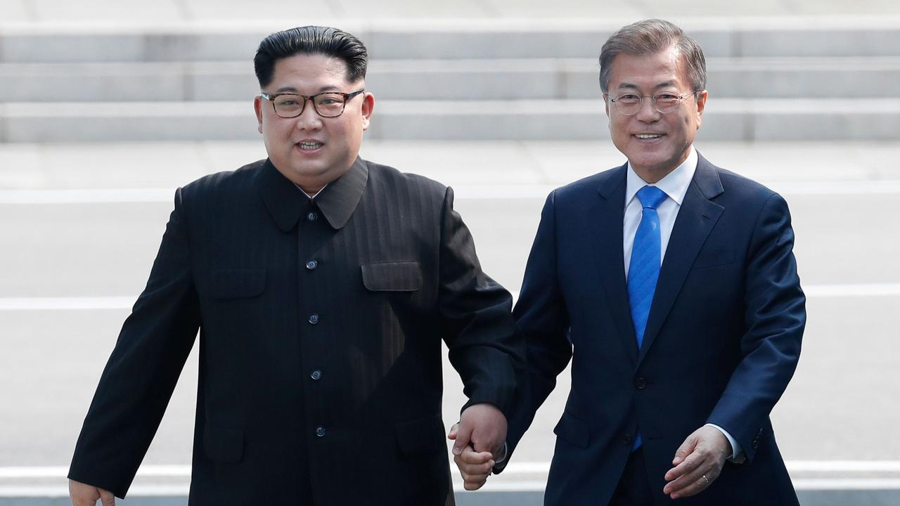 Image result for kim jong un and moon jae in