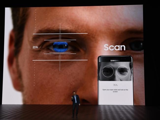 The spectacular launch of the Samsung Galaxy Note7 featuring the eye scan password. Picture: Supplied