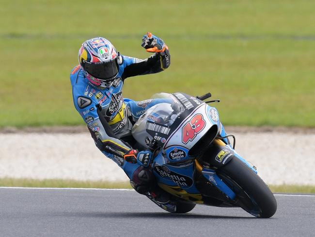 Miller waves to his home crowd after qualifying fifth at Phillip Island.