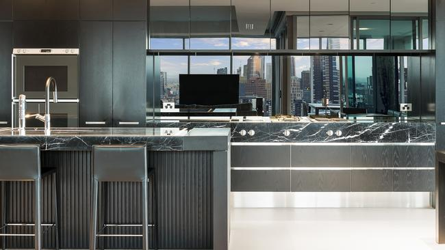 A sleek kitchen in the apartment.