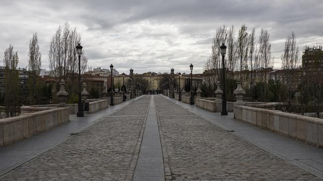 View of the Toledo bridge in Madrid during the general lockdown due COVID-19 emergency. Picture: AP Photo / Bernat Armangue.