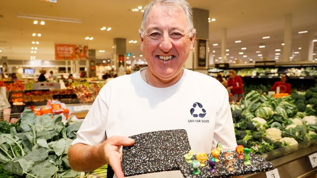 John Elliott, founder of Save Our Soles, has partnered with Coles to help recycle Stikeez into useful products including anti-fatigue mats. Picture: Hanna Lassen/Getty Images