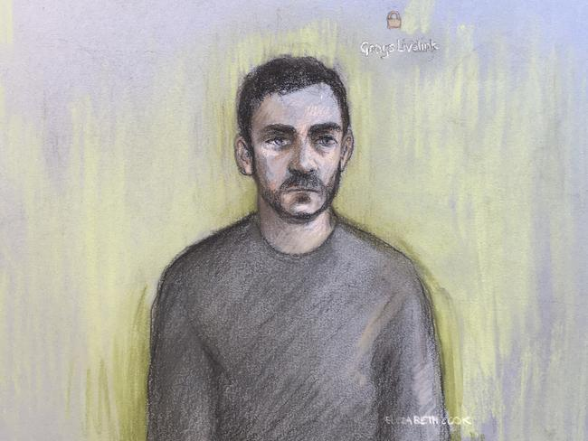 A court artist sketch by Elizabeth Cook shows Maurice Robinson as he appeared in Chelmsford Magistrates' Court on Monday. Picture: Elizabeth Cook/PA via AP.