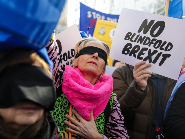 Anti-Brexit protesters demonstrate outside the Houses of Parliament on February 14, 2019 in London, England. Picture: Getty