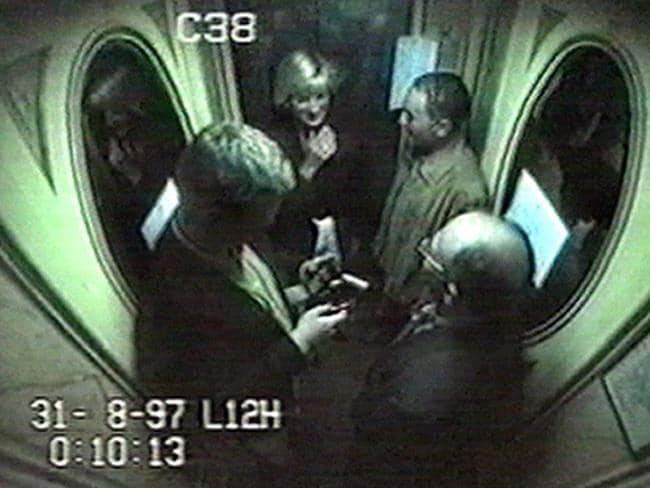 CCTV footage showing Diana, Dodi, driver Henri Paul (right) and bodyguard Trevor Rees (left) in the lift at the Ritz Hotel in Paris.