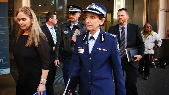 Former NSW Deputy Commissioner Catherine Burn leaves the Lindt Siege Inquest after giving evidence in August 2016. Picture: Renee Nowytarger.