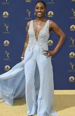 Issa Rae arrives at the 70th Primetime Emmy Awards on Monday, Sept. 17, 2018, at the Microsoft Theater in Los Angeles. (Photo by Jordan Strauss/Invision/AP)