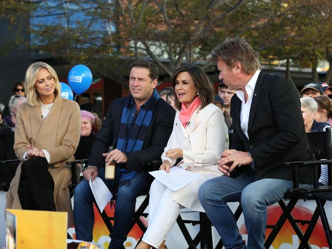 Lisa Wilkinson with her co-stars during an episode of Today filmed live in Macarthur Square.