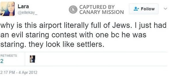 Kollab has shared anti-Semitic tweets on at least several occasions. Picture: Canary Mission