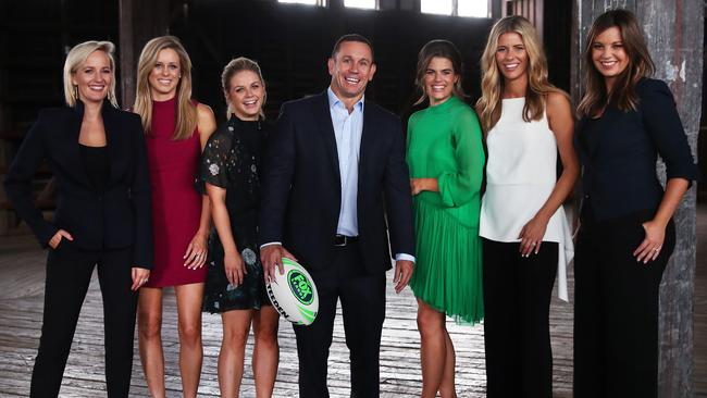 Matty Johns with presenters Jess Yates, Megan Barnard, Emma Freedman, Hannah Hollis, Lara Pitt and Yvonne Sampson at the Fox League launch for season 2018 at Walsh Bay in Sydney. Picture. Phil Hillyard