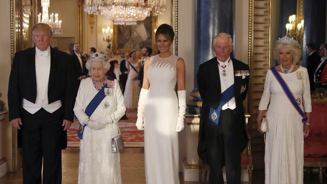 President Donald Trump, Queen Elizabeth II, First Lady Melania Trump, Prince Charles and Camilla, the Duchess of Cornwall pose for the media ahead of the State Banquet at Buckingham Palace.