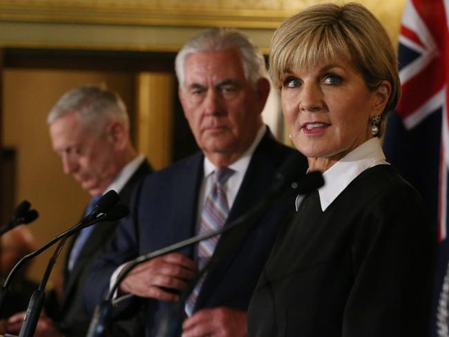 US Secretary of State Rex Tillerson and Julie Bishop. Picture: AAP