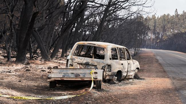 A burnt out car and trailer on Kangaroo Island. Picture: Matt Loxton.