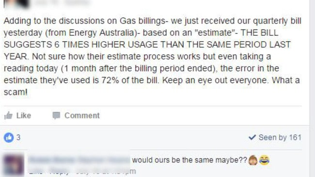 Fury: One customer claimed his bill was six times higher thanks to estimated reads. Source: Facebook